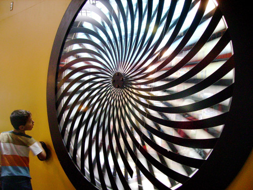 Giant spinning toy in San Francisco's Exploratorium hands-on museum