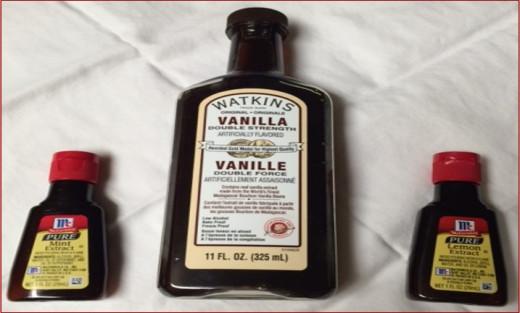 Mint, vanilla and lemon extracts