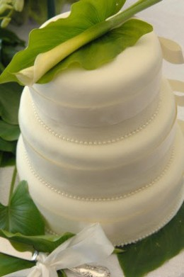 Wedding Cake Carries Out Flower Theme Simply, Inexpensively, And Very Elegantly