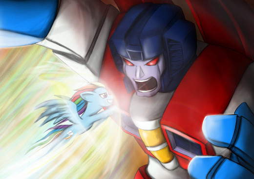 Let's just say that the little pony gave the giant robot a run for his money.
