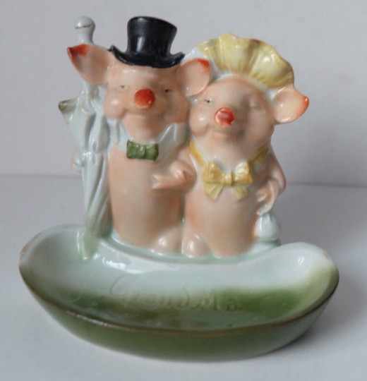 This adorable wedding couple is quite rare and is selling for about $100 on ebay.