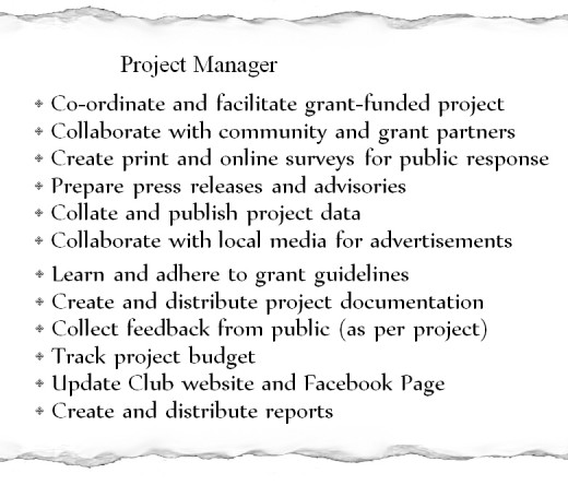 Here is a list of duties from my time as a Project Manager with a non-profit group.