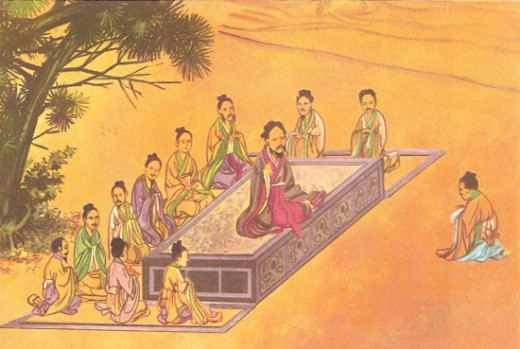 Confucius teaching his followers (painting on silk from Taiwan)