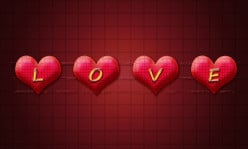Create LOVEly Valentine Text on 3D Hearts in Adobe Photoshop