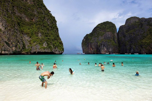 Phi Phi Island at Krabi with its emerald green sea and white sandy beach