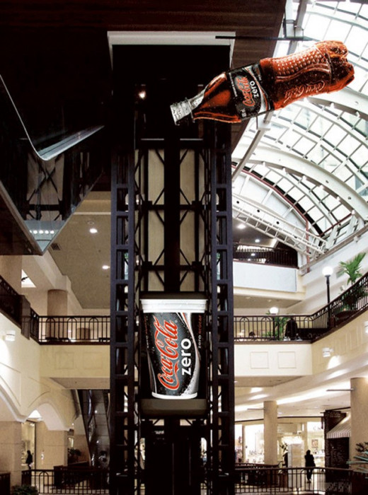 Smart and creative Coca-Cola Zero elevator advertising, 2006