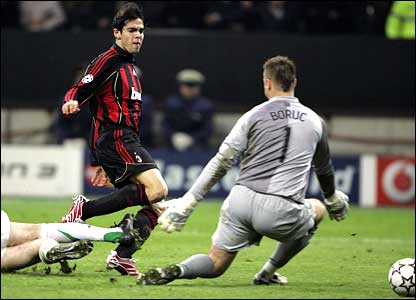Kaka of AC Milan takes a shot past Celtic goalkeeper Artur Boruc in a UCL Round of 16 match in 2007. The shot was the difference as Kaka scored in extra time to send AC Milan through.