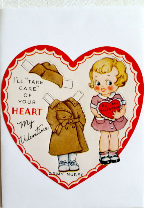 Isn't this combination paper doll and valentine a cutie! The doll and the army nurse outfit are perforated for easy punching out. I'm guessing this could be WWII, but don't have verification for that.