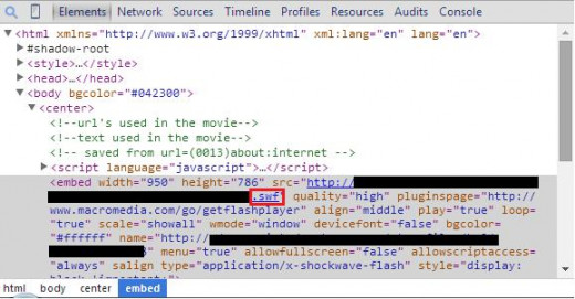 The red square shows the .swf extension for a page that has a clickable flash address in its code.