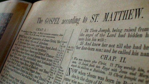 Photo of the first Gospel inside my antique Original King James Bible.