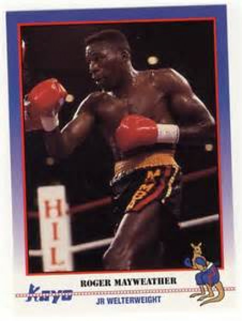 Roger Mayweather on the front of a KO boxing card.