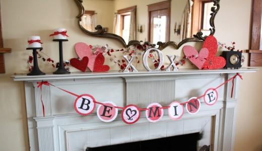 Mantel Valentine's Day decorations