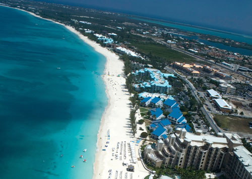 Ahh, the beautiful white sand and surf of Grand Cayman's Seven Mile Beach...