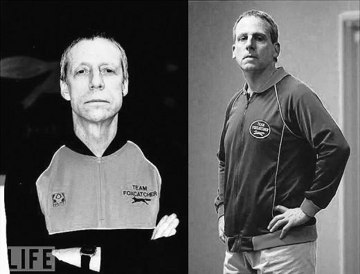 Real Life John Du Pont (Left), Steve Carrell's Version (Right)