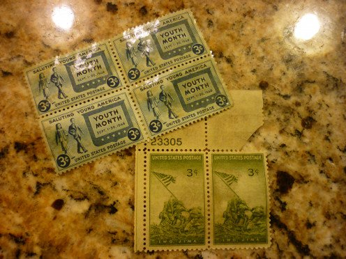 1945 Youth Month stamps and Iwo Jima 3 cent stamps