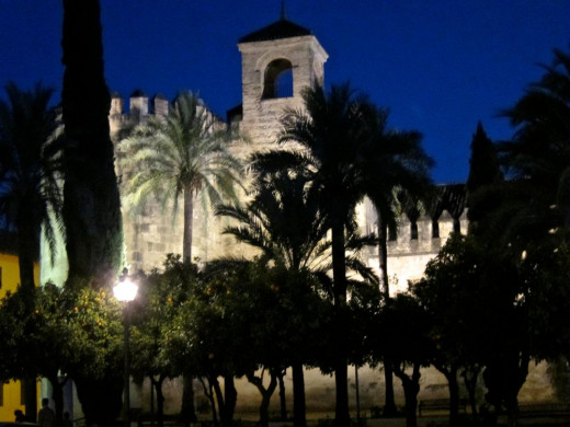 The Castle of the Christian Monarchs at Night
