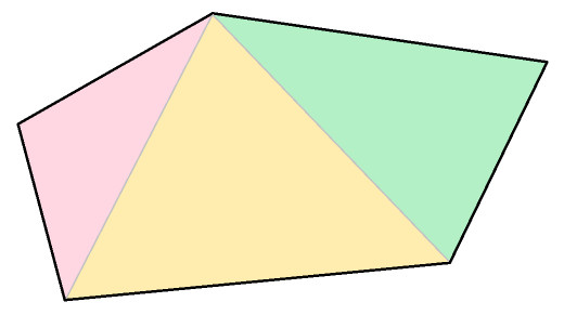 An irregular pentagon partitioned into three triangles. The area of the pentagon is the sum of the areas of the three triangles.