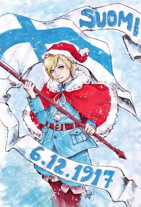 This is the character Finland from the anime and manga series known as Hetalia Axis Powers (check it out, it's pretty awesome :-)). The pic has the CC:BY-SA license