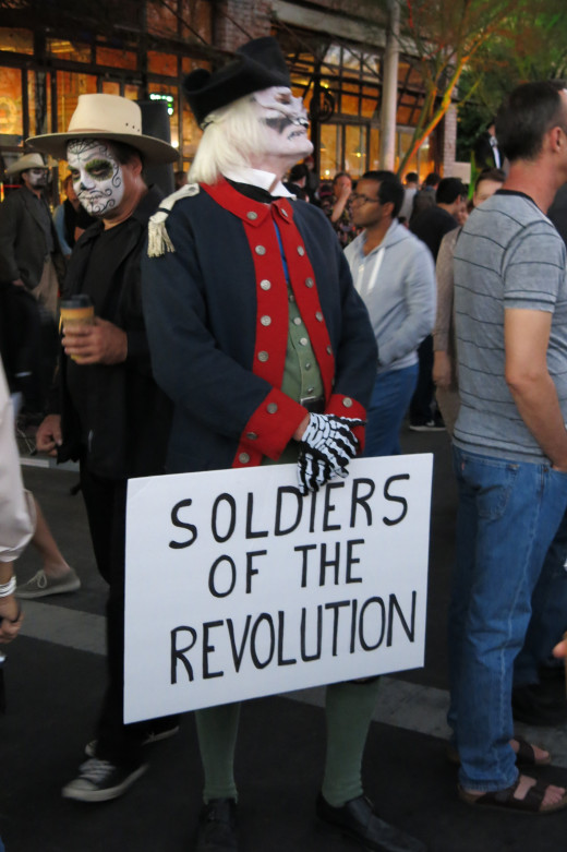 This fellow appears to be honoring the memory of American troops who fought in the American Revolution
