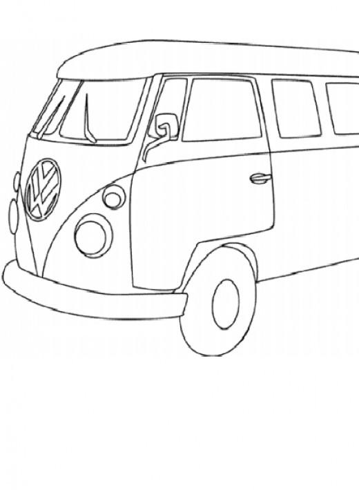 VW van coloring page, Volkswagen bus printable coloring sheet