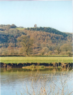 Paxton's Tower seen from across the River Tywi.