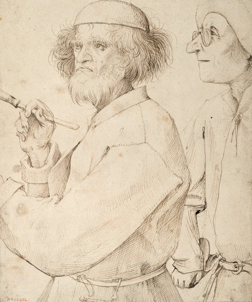 The Painter and The Connoisseur, c. 1565 is thought to be Bruegel's self-portrait.