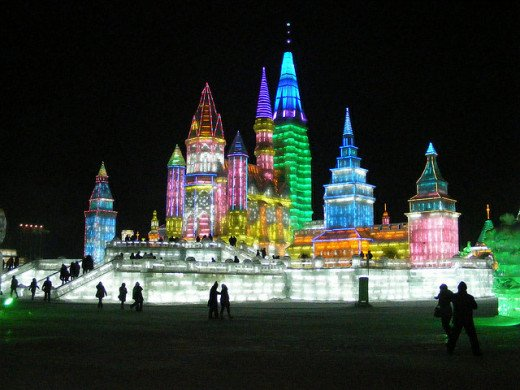 Snow and Ice World festival in Harbin, China.