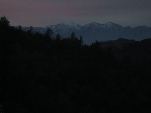 The view of Mount Baldy at twilight.