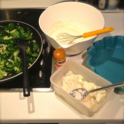 Fresh spinach, leeks, spring onions, homemade ricotta, eggs, a dash of nutmeg and a generous amount of cracked black pepper...