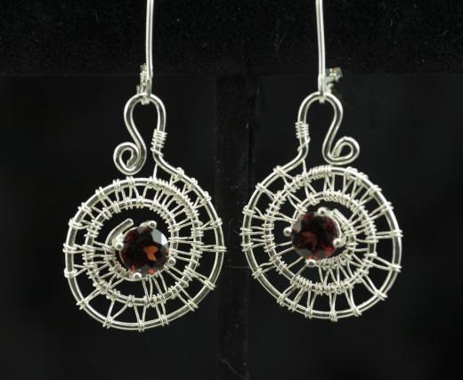 Garnet Eternal Spiral Earrings