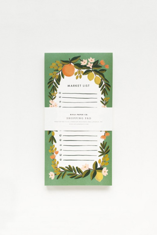 rifle paper Co. market pad, orange and lemon boarder