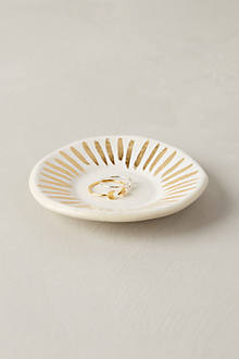 anthropologie gold striped jewelry trinket dish
