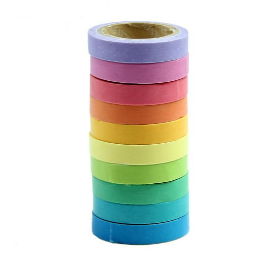 rainbow of stacked washi tape rolls