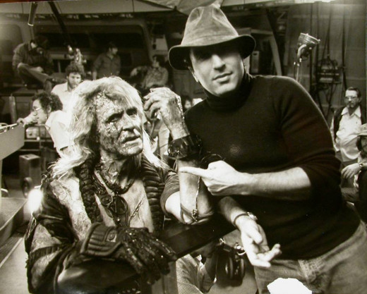 Ricardo Montalban and Nicholas Meyer on the Star Trek 2 set(1982)