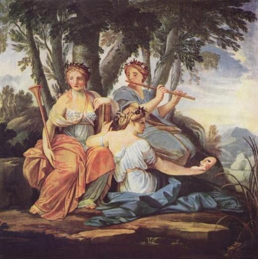 Clio, Euterpe and Thalia,by Eustache Le Sueur, 1652-55.