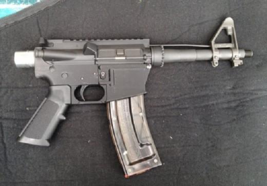 3D printed .22 pistol assembled.