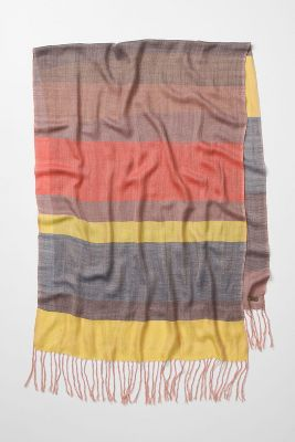 yellow, brown, and burnt orange linen scarf from anthropologie
