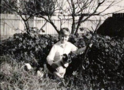 My son in the back garden of our house in Lamaroo, South Australia 1967