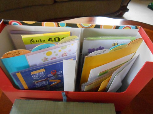 This organizer needs a little organization, but you get the idea!  This holds tall cards too, which is so nice.