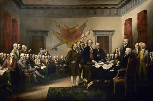 "John Trumbull's 1819 painting ""Declaration of Independence"" depicts an historic moment of American freedom."