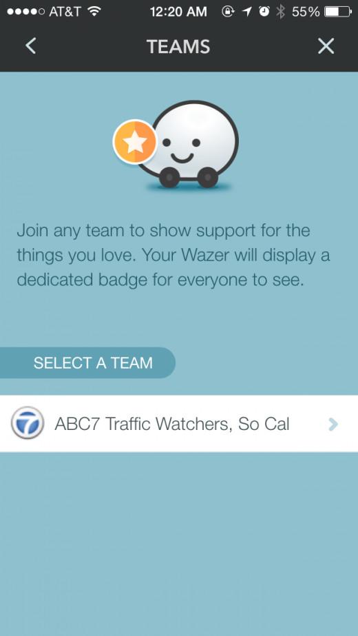 screenshot of waze teams