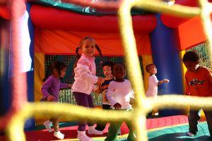 Playgrounds help children learn social skills.