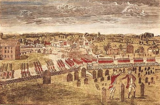 Engraving by Amos Doolittle from 1775, depicting the British entering Concord