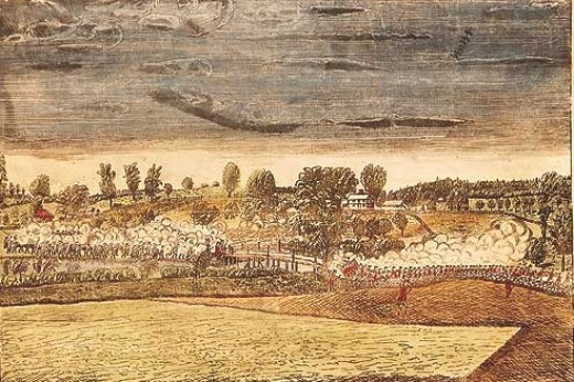 Engraving by Amos Doolittle from 1775, depicting the engagement at the North Bridge