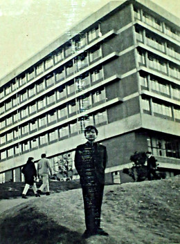 Me, as a student, in front of Victoria University Of Wellington, NZ