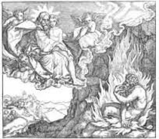 God embraces the youth Lazarus and watches the rich man suffer in Hell (medieval woodcut)