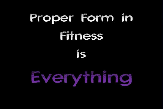 colorful black white and purple poster with quote: Proper Form in Fitness is Everything