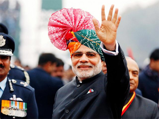 PM modi at 66th Republic Day celebrations