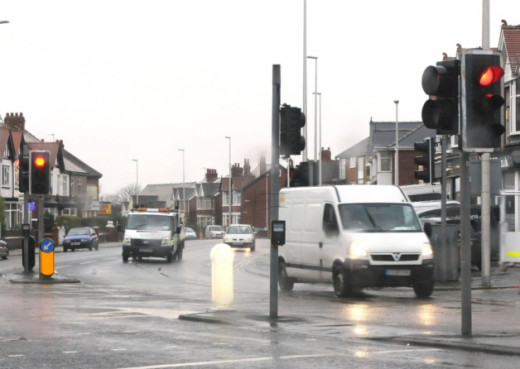 The traffic lights approaching Oxford Square, Blackpool, where my accident happened on my way to my new job.