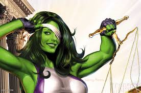 She Hulk as peeking, blind justice woman